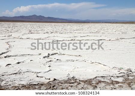 Salt flat near Mojave desert - stock photo