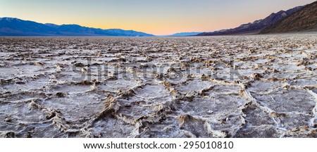 Salt Flats of Death Valley at Sunset  - stock photo