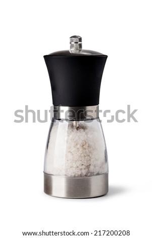 Salt grinder on white background - stock photo