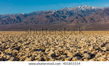 Salt has created complex structures. The floor of Death Valley is covered by a huge salt pan. Devil's Golf Course, Death Valley National Park - stock photo
