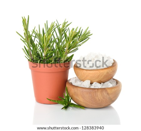 Salt in a wooden bowl and rosemary on a white background