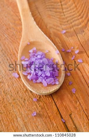 salt in spoon - stock photo