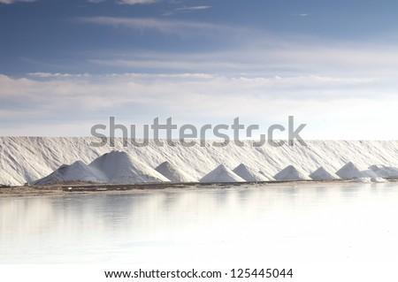 Salt industry, Ukraine, Crimea. Salt for food and treatment - stock photo