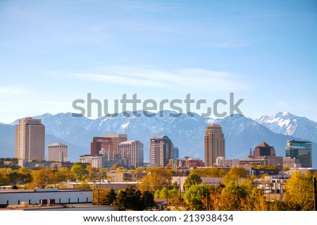 Salt Lake City downtown overview in the morning - stock photo