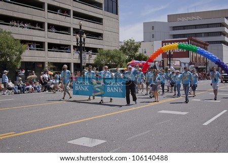 SALT LAKE CITY - JUNE 3: Pride Parade participants with Mormon support and political figures marching in downtown on June 3rd 2012, Salt Lake City, Utah, USA