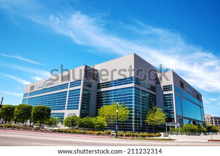 SALT LAKE CITY - MAY 2: Energy Solutions Arena on May 2, 2014 in Salt Lake City, Utah. It's an indoor arena owned by Jazz Basketball Investors formely known as The Delta Center. - stock photo