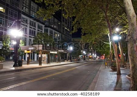 Salt Lake City, night scene, street, station, lights and buildings - stock photo