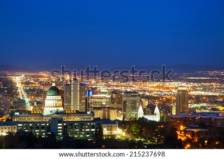 Salt Lake City overview in the night - stock photo