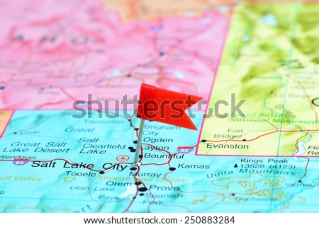 Salt Lake City pinned on a map of USA  - stock photo