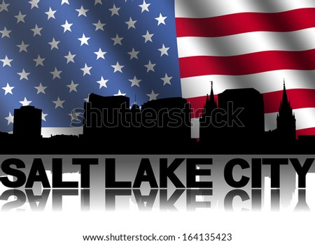 Salt Lake City skyline and text reflected with rippled American flag illustration
