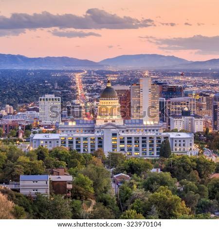 Salt Lake City skyline Utah at night - stock photo