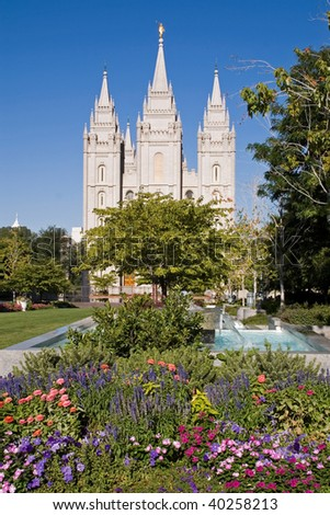 Salt Lake City Temple and its colorful garden - stock photo