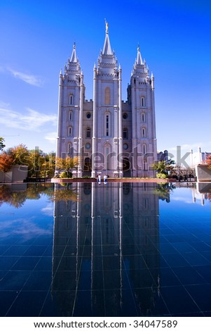 Salt Lake City, UT: October 30 Mormon Temple in Salt Lake City, Utah - stock photo