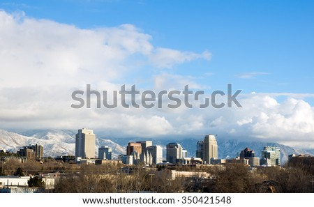 SALT LAKE CITY, UTA/USA - December 12, 2015: View of downtown Salt Lake City winter, Utah, USA - stock photo