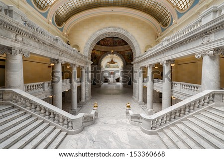 SALT LAKE CITY, UTAH - AUGUST 15: Grand marble staircases inside the Utah State Capitol building on Capitol Hill on August 15, 2013 in Salt Lake City