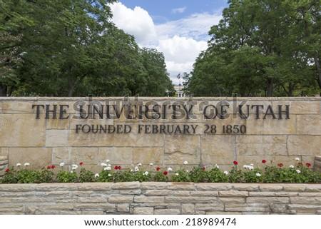Salt Lake City, Utah - July 11, 2014: The main entrance sign to the University of Utah in Salt Lake City. - stock photo
