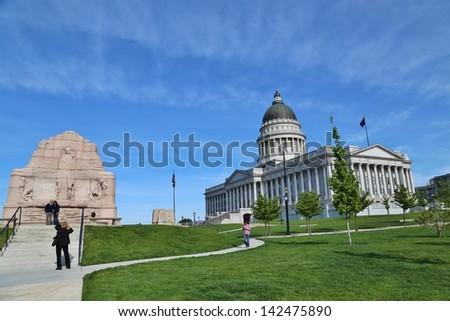 SALT LAKE CITY, UTAH- MAY 24: Utah Capitol Building in Salt Lake City,Utah on May 24, 2013. It houses the chambers of the Utah State Legislature, the offices of the Governor, and Lieutenant of Utah. - stock photo