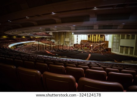 SALT LAKE CITY, UTAH - OCTOBER 1: Interior of Salt Lake City Utah Mormon Church of Jesus Christ of Latter-day Saints conference center on October 1, 2015 in Salt Lake City, Utah USA