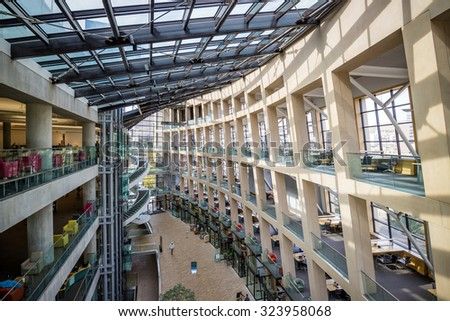 SALT LAKE CITY, UTAH - OCTOBER 1: Interior of the contemporary Salt Lake City Public Library on October 1, 2015 in Salt Lake City, Utah USA