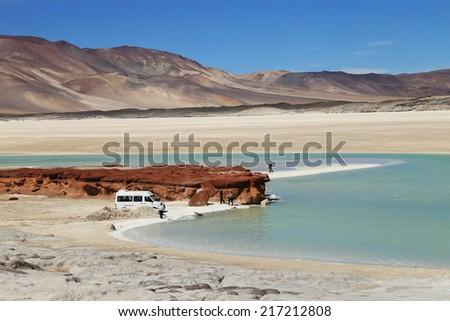 Salt Lake in Atacama desert  - stock photo