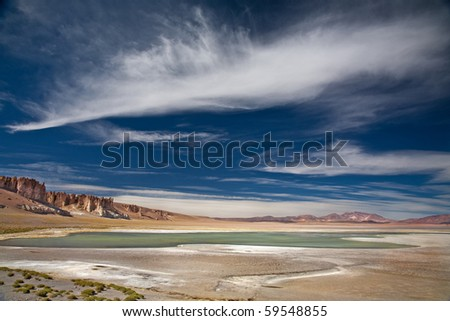 salt lake Salar de Tara, Chile, near the border between Bolivia, Chile and Argentina - stock photo
