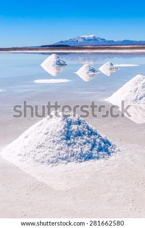 Salt lake Uyuni in Bolivia - stock photo