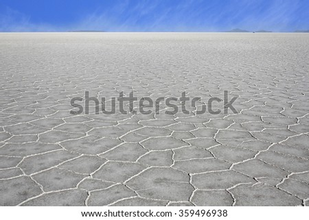 Salt Lakes Bolivia are the  largest salt flats in th world with an elevation of 3653 meters above sea level - stock photo