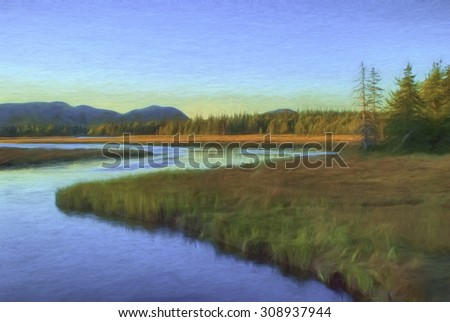 Salt Marsh in Maine at Sunrise
