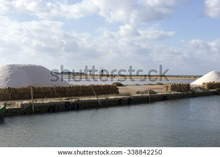 Salt-mine in Trapani, Sicily in south of Italy - stock photo
