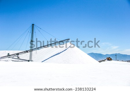 Salt mine processing and heavy production crane. - stock photo