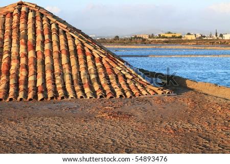 Salt mine - Trapani, Sicily (Italy) - stock photo