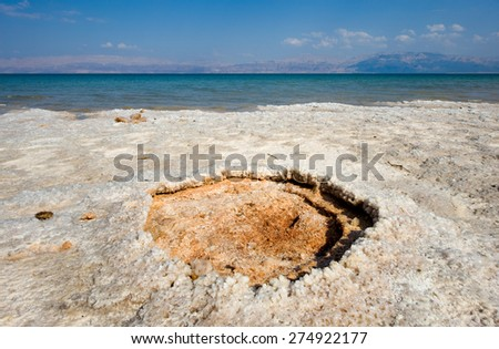 Salt on a beach of the dead sea in Israel