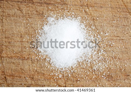 Salt on a wooden surface