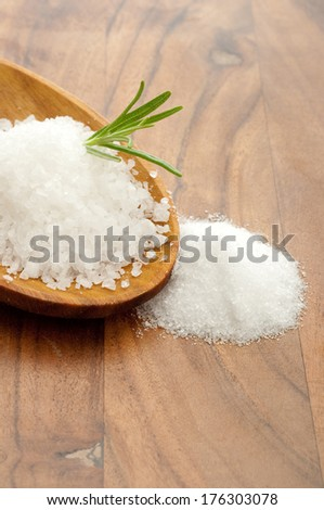 salt over wood spoon