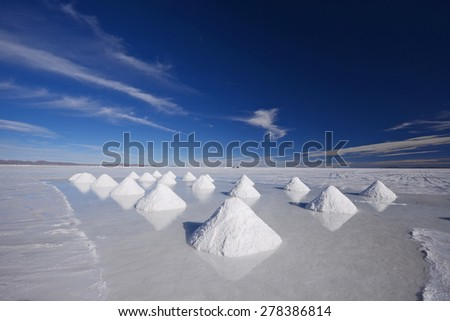 salt pile from mining industry in bolivia