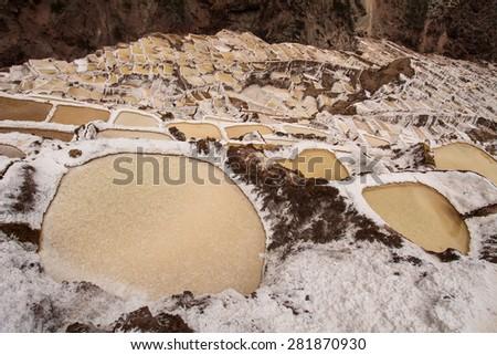 Salt ponds, Maras, Cuzco, Peru - stock photo