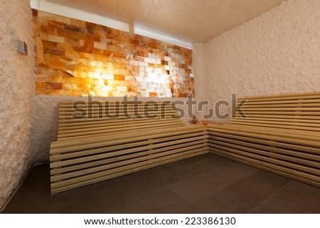 Salt room interior in luxury spa center - stock photo