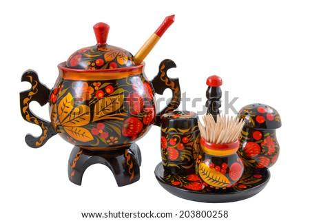 Salt shaker, pepper shaker, toothpicks and sugar bowl on the white background - stock photo