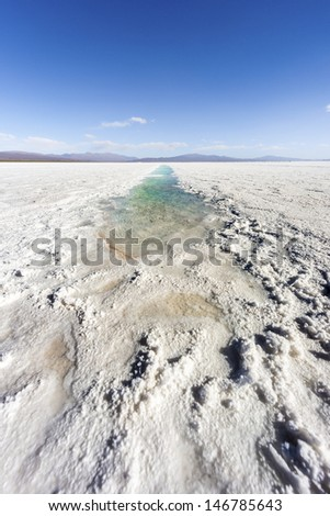 Salt water pool on the Salinas Grandes salt flats in Jujuy province, northern Argentina.