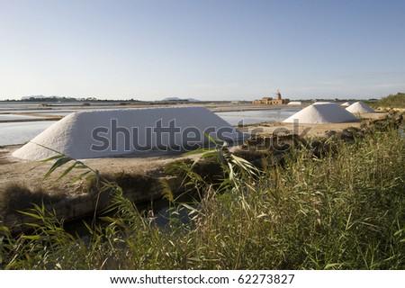 Salt work - Marsala, Trapani, Sicily (Italy) - stock photo