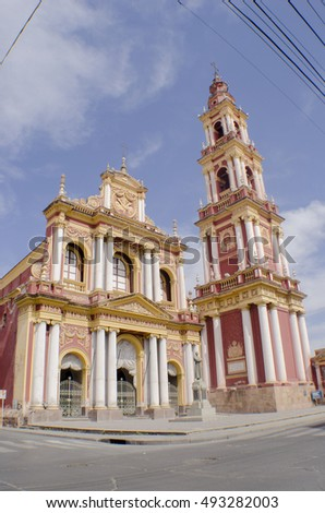 SALTA, ARGENTINA - AUGUST 20, 2011:Beautiful cathedral in the province of Salta, north of Argentina.