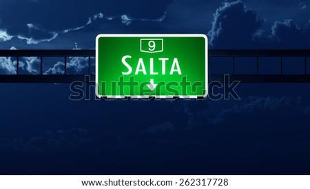 Salta Argentina Highway Road Sign at Night - stock photo