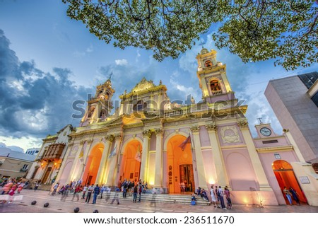 SALTA, ARGENTINA - MARCH 03, 2013: The Cathedral Basilica and Sanctuary of the Lord and the Virgin of the Miracle in Salta, Argentina. - stock photo