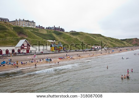 Saltburn sea front in Redcar, England, UK on 23.07.14 - stock photo
