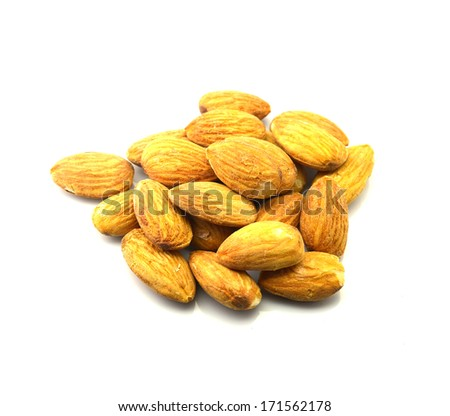 Salted almonds on white - stock photo