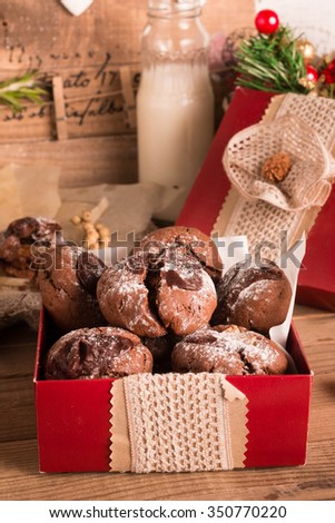 Salted Caramel Stuffed Chocolate Crinkle Cookies. Christmas cookie exchange, Selective Focus.   - stock photo