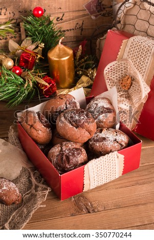 Salted Caramel Stuffed Chocolate Crinkle Cookies. Christmas cookies in a box. Christmas cookie exchange, Selective Focus. - stock photo