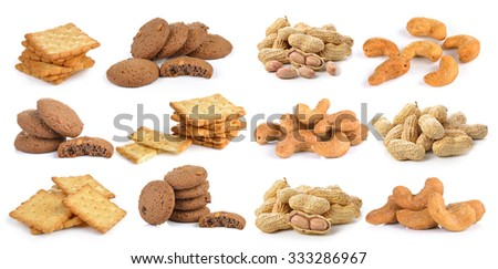 salted cashew nut ,peanut  cookie and Cracker on white background