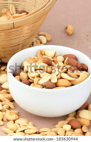 salted cocktail nuts - stock photo