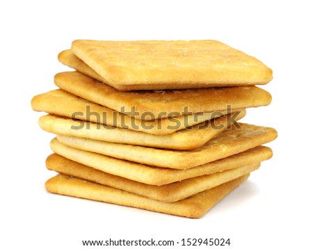 Salted crackers on white background    - stock photo